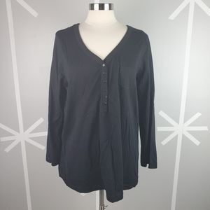 NWOT Black Long Sleeve V-Neck Shirt with Buttons